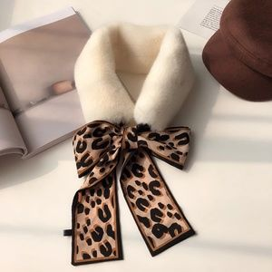 Accessories - New Leopard Faux Mink Fur Silk Skinny Scarf Twilly